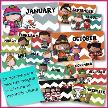 Preschool Planner for Google Drive with Melonheadz friends & chevron theme