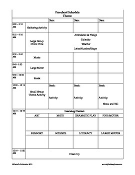 Preschool Planning Form for 3 Day Class