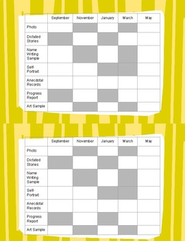 Preschool Portfolio Checklist
