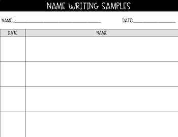 Preschool Portfolio Handwriting Samples