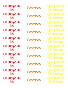 Preschool Portfolio Labels (Spanish)