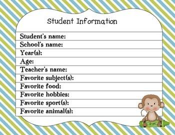 Preschool Portfolio- Monkeys and Stripes