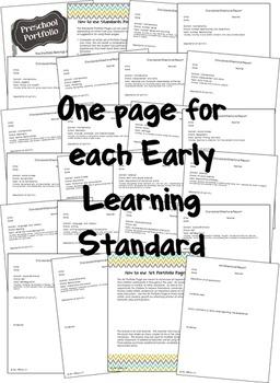 Preschool Standards Portfolio Pages EDITABLE