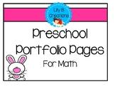 Preschool Portfolio Pages For Math