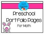 Preschool Portfolio Pages For Math