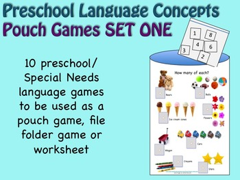 Preschool Language Games SET ONE for Pre-K and Special Education
