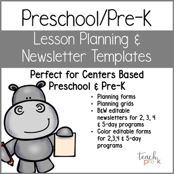 Preschool/Pre-K Lesson Planning Templates & Editable Newsletter Templates