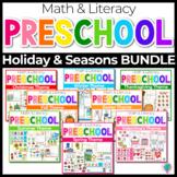 Preschool/ Pre-K Math & Literacy Centers Bundle 1   Holidays and Seasons