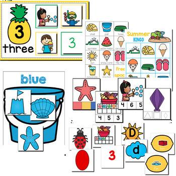 Preschool/ Pre-K Math & Literacy Centers Bundle 1 | Holidays and Seasons