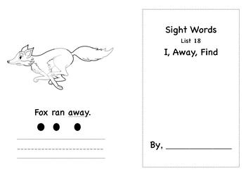 Preschool/Pre-K sight words activity book list 18
