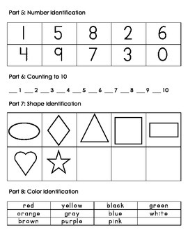 Preschool Pre and/or Post Assessment