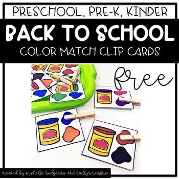 Preschool, PreK, Kindergarten Back to School Color Activities FREE