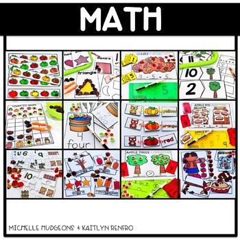 Preschool, PreK, Kindergarten Fall Autumn September Centers and Activities