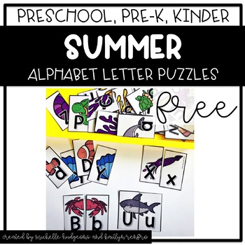 Preschool, PreK, Kindergarten Summer Activities | Alphabet Letter Puzzle FREE