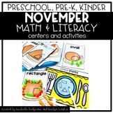Preschool, PreK, Kindergarten Thanksgiving November Centers and Activities