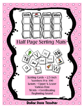 Preschool Print Concepts Differentiated Letters, Words & Numbers Sorting Mats +