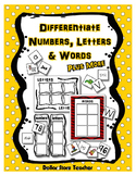 Preschool Print Concepts Differentiated Letters, Words & N