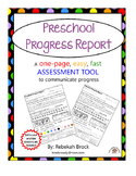 Preschool Progress Report:  One Page FAST and EASY Communication Tool
