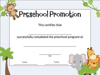 Preschool Promotion Certificate