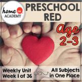 Preschool Age 2-3 Week 1 - TRY IT DOLLAR DEAL - Preschool Homeschool Red