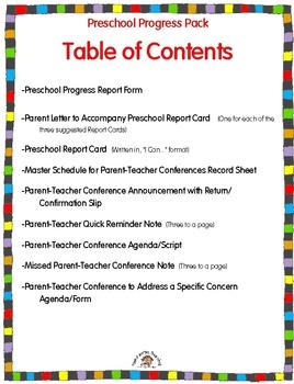 From Report Cards To Parent Teacher >> Preschool Reporting To Parents Pack Parent Teacher Conferences
