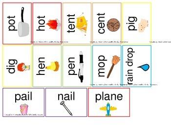 Preschool Rhyming Flash Cards.  Daycare and preschool curriculum rhyming cards.