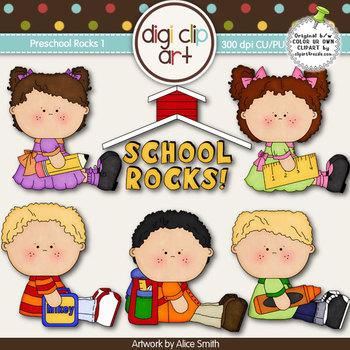 Preschool Rocks 1-  Digi Clip Art/Digital Stamps - CU Clip Art