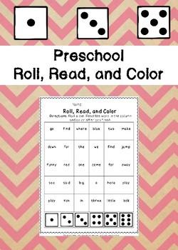 Preschool Roll, Read, and Color