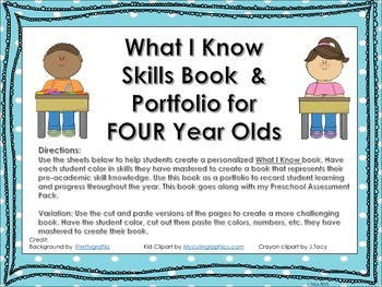 Preschool SKills Book  Portfolio - FOUR Year Olds