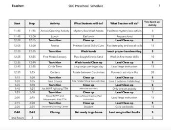 Preschool Schedule Template in Excel