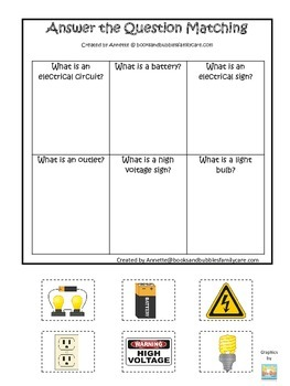 Preschool Science. Electricity Answer the Question children learning game.