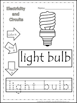 Preschool Science. Electricity Color, Read, Trace children learning worksheets