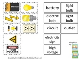 Preschool Science. Electricity Match the Word to the Picture child learning game