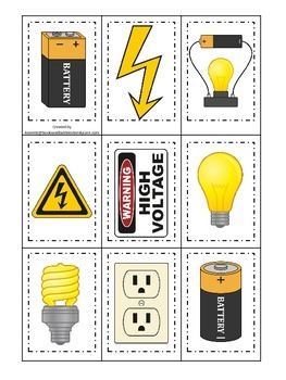 Preschool Science. Electricity Memory Matching children le