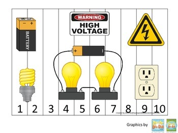 Preschool Science. Electricity Sequence Puzzle 1-10 learning activity..