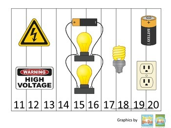Preschool Science. Electricity Sequence Puzzle 11-20 learning activity..