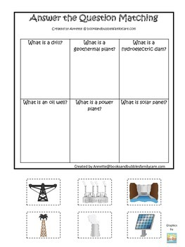 Preschool Science. Types of Energy Answer the Question chi