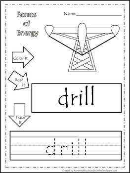 Preschool Science. Types of Energy Color, Read, Trace child learning worksheets.