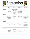 Preschool September Homework
