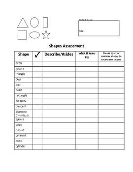 Preschool Shapes Assessment
