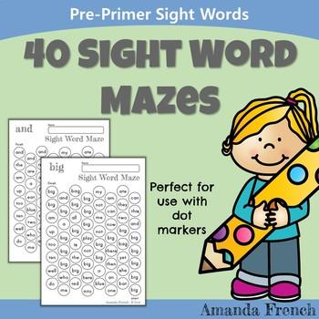 Preschool - Sight Word Mazes