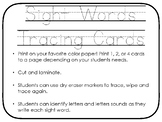 Preschool Sight Word Tracing Cards