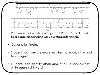 Preschool Sight Word Tracing Cards