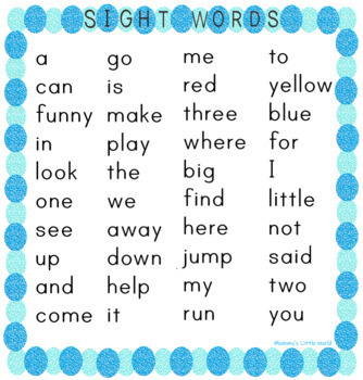 Preschool Sight Words Blue Dolch Pre K Sight Words