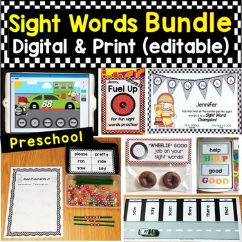 Preschool Sight Words Bundle Editable Printable Pages & Digital Boom Cards