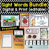 Preschool Sight Words Bundle Editable Printable Pages & Di