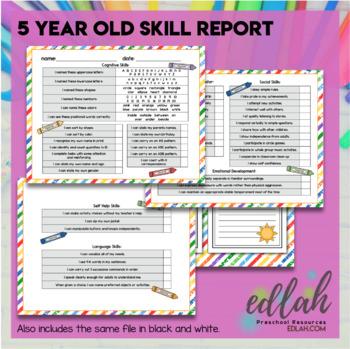 Preschool Skill Report Bundle - Distance Learning