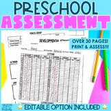 Preschool Assessment | Editable Months | PreK Kindergarten