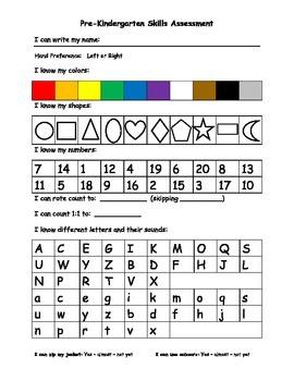 Preschool Skills Assessment Sheet