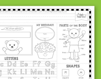 Preschool Skills Coloring Placemat - Boy